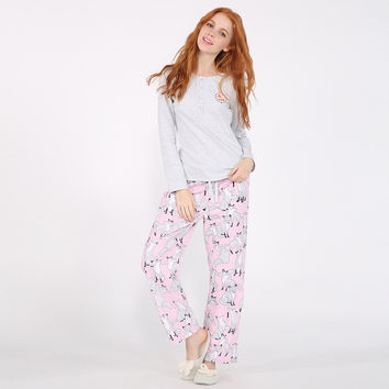 Winter Warm Sleepwear Set Lovely Cotton Pajamas Long Sleeve Tops and Pants [9575855887]
