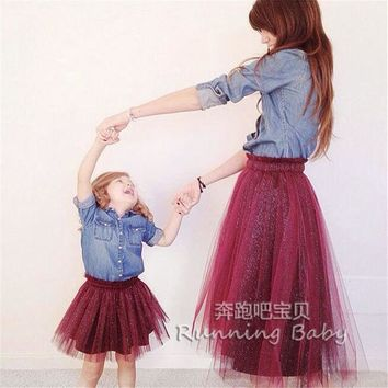 PEAPUNT Family Matching Outfits,mother daughter dresses.Family Fitted,baby dress,women dress,Family look,tutu Skirt,family girl clothes