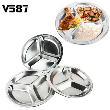 3 Sections Stainless Steel Divided Dish Tableware Dinner Plate Students Grid Dinner Round Lunch Plate Plate Canteen Supplies