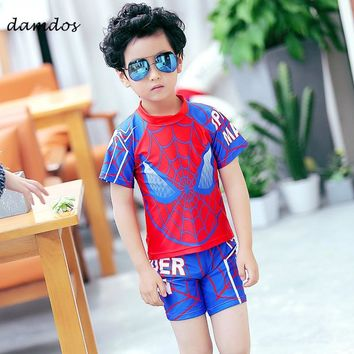 Bikini 2018 Swimwear Boys Swimsuit Kids Swimming Tshirt Spider-Man Boys Summer Clothes Bathing Suit Beach Dress Two-piece Suit