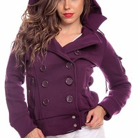 PURPLE DOUBLE BREASTED BUTTON HOODED FLEECE JACKET COAT