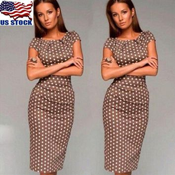 US Women Cap Sleeve Polka Dot Dress Slim Fit Stretch Cocktail Bodycon Midi Dress