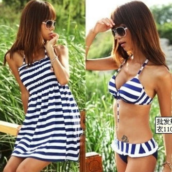 Sexy Lady's Navy Stripe Push Up Cover Dress Swimsuit Bathing Suit Swimwear 3PCS