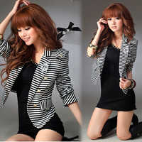 Womens Casual Vogue Suit Striped Black White Tops Jacket Outerwear Blazer