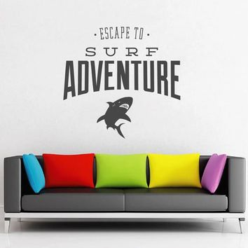 ik2551 Wall Decal Sticker inscription adventure surfing shark living sports shop