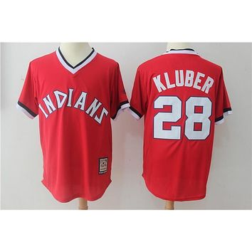 Cleveland indians 28 Corey Kluber Baseball Jersey Red Throwback