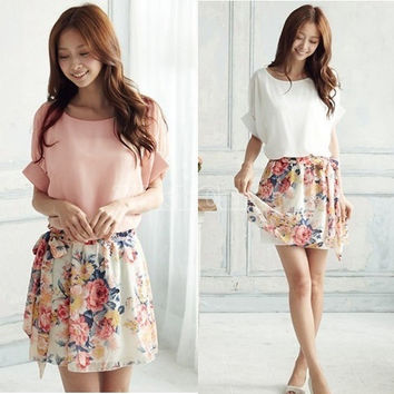 Women's Charming Summer Crewneck Chiffon Short Sleeve Floral Casual Dress = 1645608772