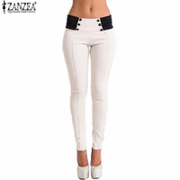 Zanzea Pencil Pants 2016 Autumn Women Slim Low Waist Pants Sexy Ladies Casual Skinny Trousers Feet Bodycon Leggings Plus Size