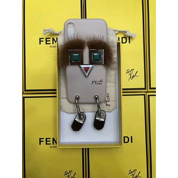 FENDI rivet shoes little monster iPhoneX couple leather phone case F-OF-SJK Grey