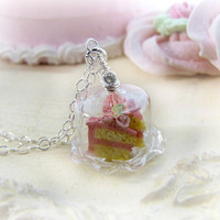 Cake Necklace Miniature Pink Birthday Cake Plate  by CuteAbility