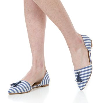 Caroline Flat in Navy Stripe by Southern Proper