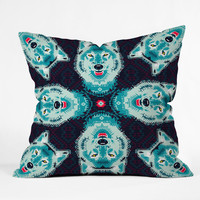 Chobopop Geometric Wolf Outdoor Throw Pillow