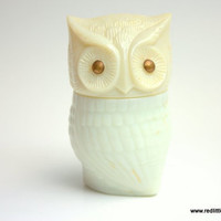 1970s Avon Milk Glass Owl Cream Sachet and Decanter, bedroom decor, home decor, owl collectibles