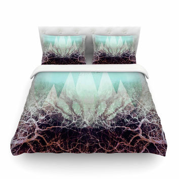 "Pia Schneider ""TREES Under MAGIC MOUNTAINS VI"" Teal White Featherweight Duvet Cover"