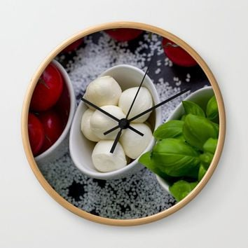 Trio of tomatoes basil fresh mozzarella Wall Clock by tanjariedel