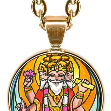 "Lord Brahma the Creator 5/8"" Mini Stainless Steel Pendant with Chain"