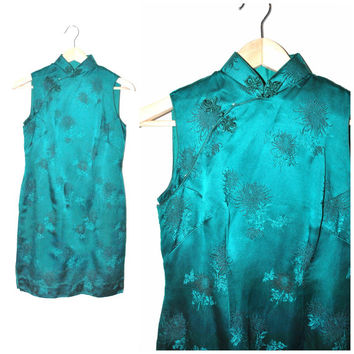 1950s ASIAN silk brocade dress / VINTAGE 50s mid century fitted CHEONGSAM turquoise 90s style sheath dress medium 7 8