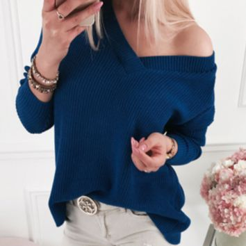 Explosion style solid color high collar ladies sweater sweater