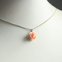 Nude Pink Ruffle Rose Flower Charm Necklace. Pink Rose Necklace. Gift for Her