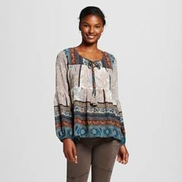 Women's Printed Peasant Top - Knox Rose™ : Target