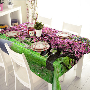 New 3D Tablecloths Purple Plant Trees Printing Waterproof/oil-proof Thicken Multi-size Rectangular/Circular Tables Home-T001