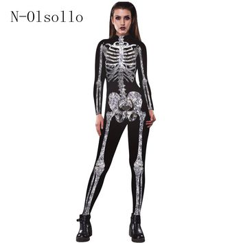 Hot Sale 3D Printed Skeleton Womens Jumpsuit Long Sleeve Ankle-Length Sexy Romper Fitness Sporting Casual Catsuit Black Bodysuit
