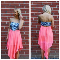 Tie Dye Dress – Coral Asymmetric Strapless Dress with Blue Tie Dye Print Cutout Top