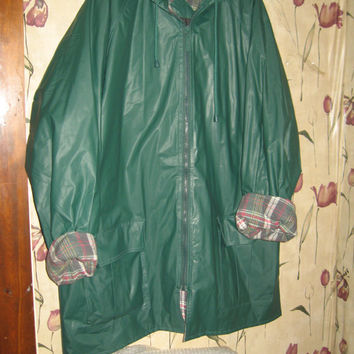 vintage Totes emerald green Vinyl flannel lined hooded raincoat unisex mens or womens sz xlarge