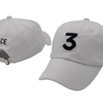 CHANCE 3 Embroidered Baseball Sports Cap Hat - White