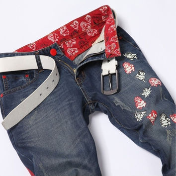 Summer Men Embroidery Ripped Holes Pants Jeans [6528347075]
