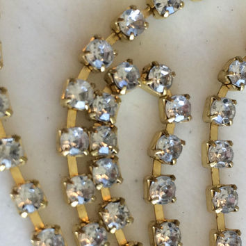 "Crystal Rhinestones Chain, DIY Craft Supply, Jewelry Making, Wedding Crafting, 48 1/2"" Long x 1/8"" Wide"