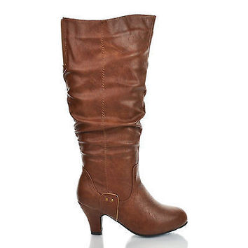 Brand32W by Blossom, Brown Vintage Slouchy Mid Heel Knee High Boots Women Shoe Size