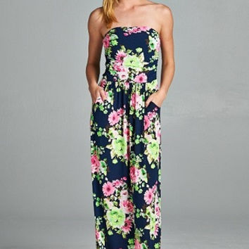 Floral Summer Maxi Dress - Navy