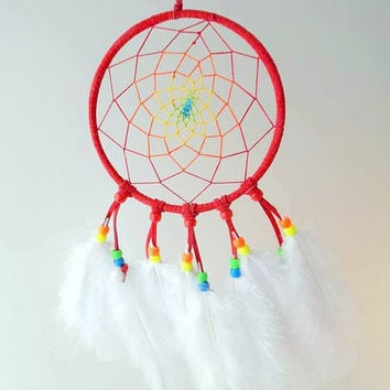 Red Rainbow dream catcher
