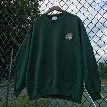 Vintage Labatt Canadian Ale Crew Sweatshirt L/XL Forest Green Jerzees Made in USA