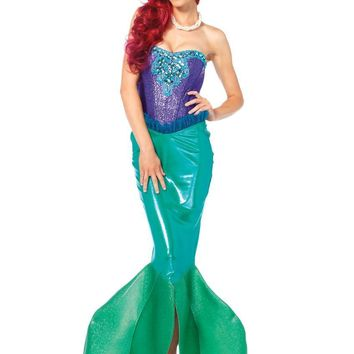 2PC.Deep Sea Siren,sequin bustier and m? fin skirt w/tulle accent SMALL GREEN/PURPLE