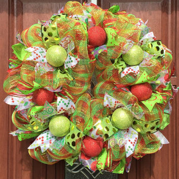 Deco Mesh Christmas Wreath - Red Green Gold Wreath - Christmas Decor