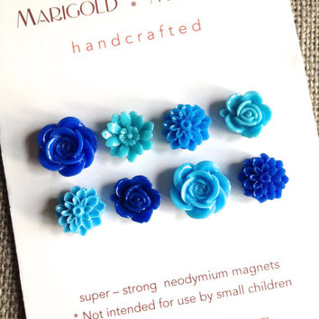small strong magnets, set of 8, vibrant  blue flowers, girls room, dorm decor, hostess gift, magnetic board, teacher gift, bulletin board