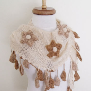 Brown-Cream Tone Little  Spring Shawl-Ready For Shipping