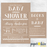 Rustic baby shower invitations  / books for baby card / kraft baby shower invite / printable baby shower invitations / printed invites
