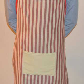 Red Stripe Apron, Unisex Full Apron, Kitchen Apron, Woman's Grilling Apron, Cookout Apron, Gift for Her, Men's Birthday, Chef Gift