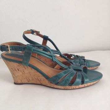 Clarks leather cork wedge sandals: size 9