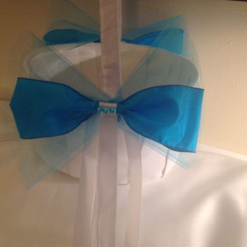 Oval Turquoise and White Flower Girl Basket