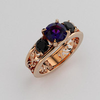 Purple spinel and black diamond filigree trinity ring, rose gold, engagement ring, spinel engagement, black, filigree,  purple, gothic