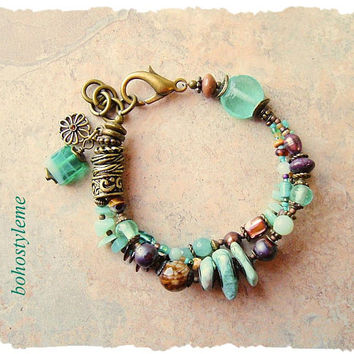 Boho Style Beaded Bracelet, Sea Glass and Stone, Pacific Coast, Bohemian Layered Bracelet, bohostyleme, Kaye Kraus