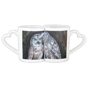 Lovers grey owls Valentine's Day