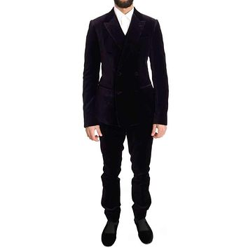 Dolce & Gabbana Purple Velvet Slim Fit Double Breasted Suit