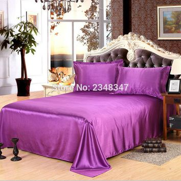 Luxury Smooth Soft Silky Lustre Home Hotel Satin Twin/Full/Queen/King Size Flat Sheet Bed Cover Solid Color Dark Purple Violet