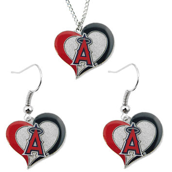 Los Angeles Angels Women's Swirl Heart Necklace & Earrings Set