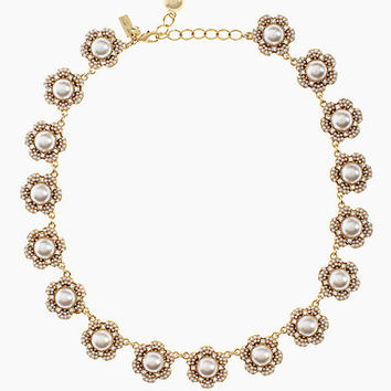 Kate Spade Park Floral Collar Necklace Cream/Clear/Gold ONE
